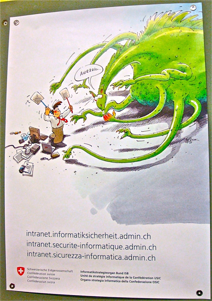 One lovely child of flawed software: poster in an office of the Swiss Federal Department of Foreign Affairs, Bern, postgutenberg@gmail.com
