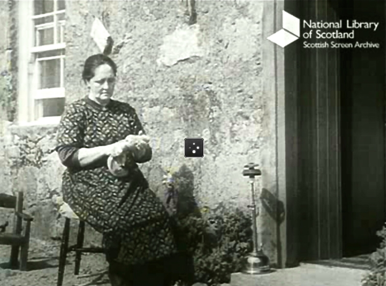 Screenshots from the film +++Crofters+++(1945) about everyday life in Achriesgill. The seated woman is polishing an oil lamp, her source of night light. Director: Ralph Keene. National Library of Scotland.