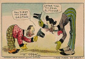 'Alphonse et Gaston' – the gold standard for mutual feather-stroking – from the Wikipedia