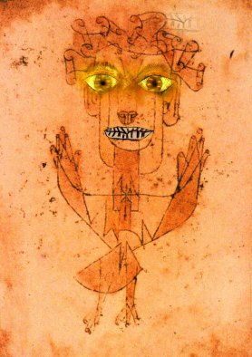 Variant of Paul Klee's Angelus Novus with the eyes of Paul Klee's Baroque Portrait and the mouth of Paul Klee's Absorption,  Carl Djerassi and Gabriele Seethaler, 2008 - by kind permission of Carl Djerassi