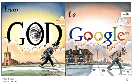 Cartoon displayed with the kind permission of Peter Schrank, whose gorgeous, incisively impish web site banishes all woe