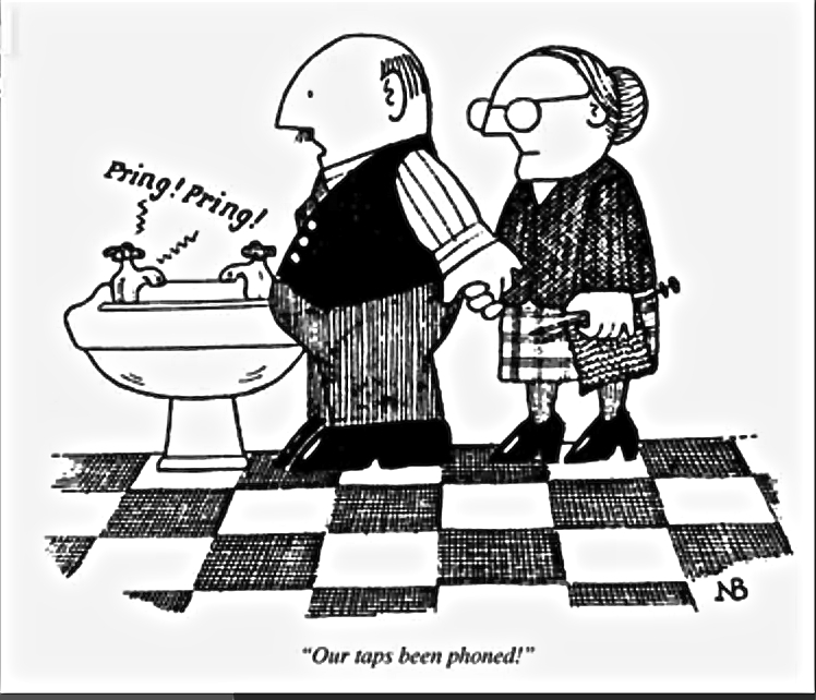 'Our tap's been phoned.' Neil Bennet, 1989, Private Eye: A Cartoon History
