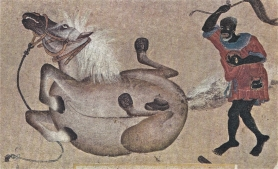 Whipped, if not quite dead: the putative whistleblower's surveillance story -- with legs  -- 'Horse and groom,' 15th-century, Turkish Miniatures, Mentor-UNESCO, 1965