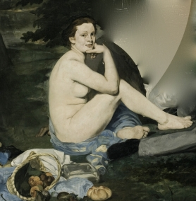 Adaptation of Édouard Manet's Le Déjeuner Sur L'Herbe (Lunch on the Grass), 1863. Today, its central figure might be striking that pose all by herself, for idiosyncratic reasons - postgutenberg [at] gmail.com