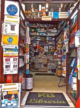 Will the online 'libreria' or bookshop, where this picture was taken, replace the 'biblioteca' -- the Italian for library – everywhere, in the digital revolution? - photograph: MIL22
