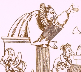 - caricature of a pompous, power-mad cleric, the kind Pope Francis is doing his best to eliminate -- by the supremely anti-clerical Martin Disteli (1802-1844)