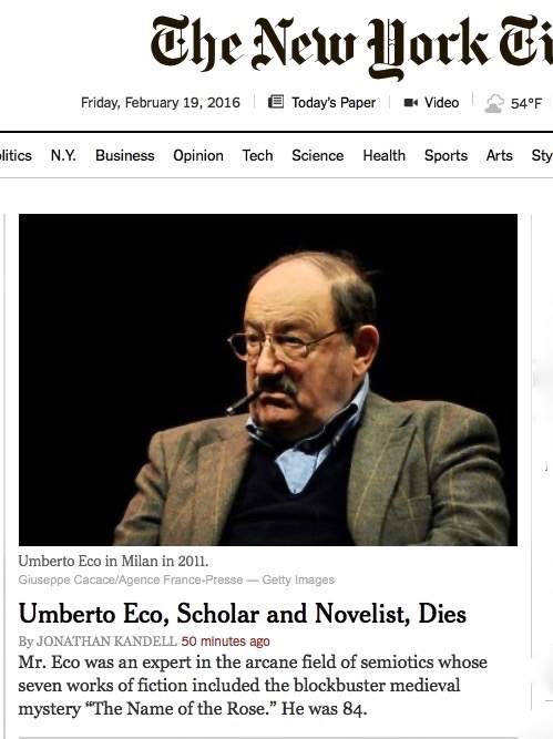 Umberto Eco top of NYT home page (1)