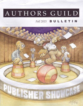 Cover of the autumn 2015 Bulletin of the American Authors Guild: 'Should Writers Be Performers?' -- Cover artist: Kevin Sanchez Walsh, kswradiographic@gmail.com