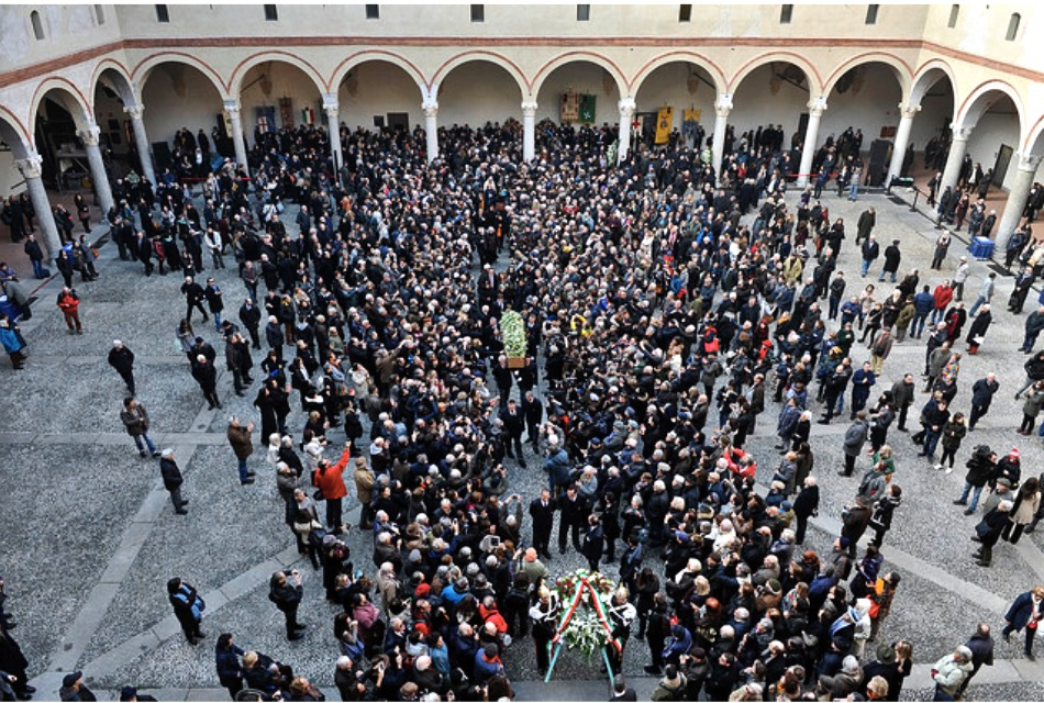Umberto Eco funeral, Sforza Castle inner courtyard