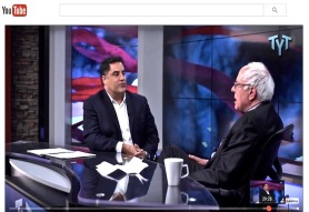 Bernie Sanders being interviewed about corporate media's partisan distortions of the truth by Cenk Uygur on The Young Turks, 23 March 2016
