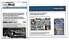 >>>The Daily Mail>>Guardian<<<, which broadcasts news https://www.theguardian.com/media/2016/may/26/dmgt-print-ads-daily-mail-mail-online-metro of its rival's money worries
