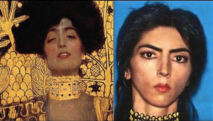 left Gustav Klimt's Judith; right Nasim Aghdam - SC - postgutenberg@gmail.com