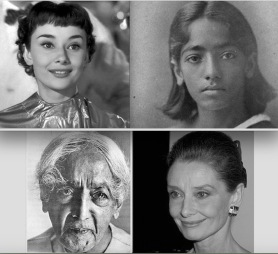 Audrey Hepburn, Jiddu Krishnamurti, younger and older postgutenberg@gmail.com.jpg