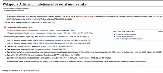 Wikipedia decision to delete '2019 Social Media Strike' on 22 July 2019 postgutenberg@gmail.com